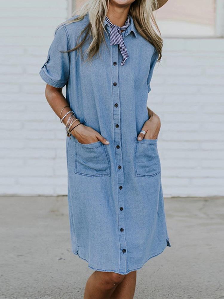 Plus Размер Повседневный откидной ошейник Передние карманы Рубашка Платье