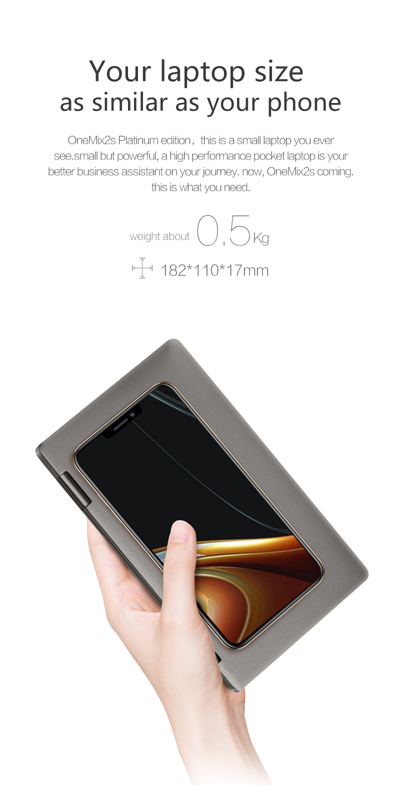 """ONE-NETBOOK One Mix 2s Platinum Edition i7-8500Y 4.2GHz 8GB RAM 512GB PCI-E SSD 7"""" Windows 10 Tablet"""