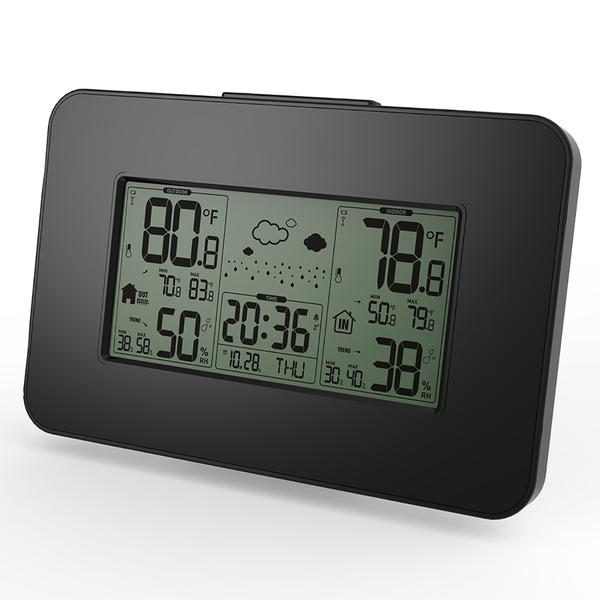 LCD Display Weather Station Clock Alert Electronic Temperature Thermometer Humidity With Sensor