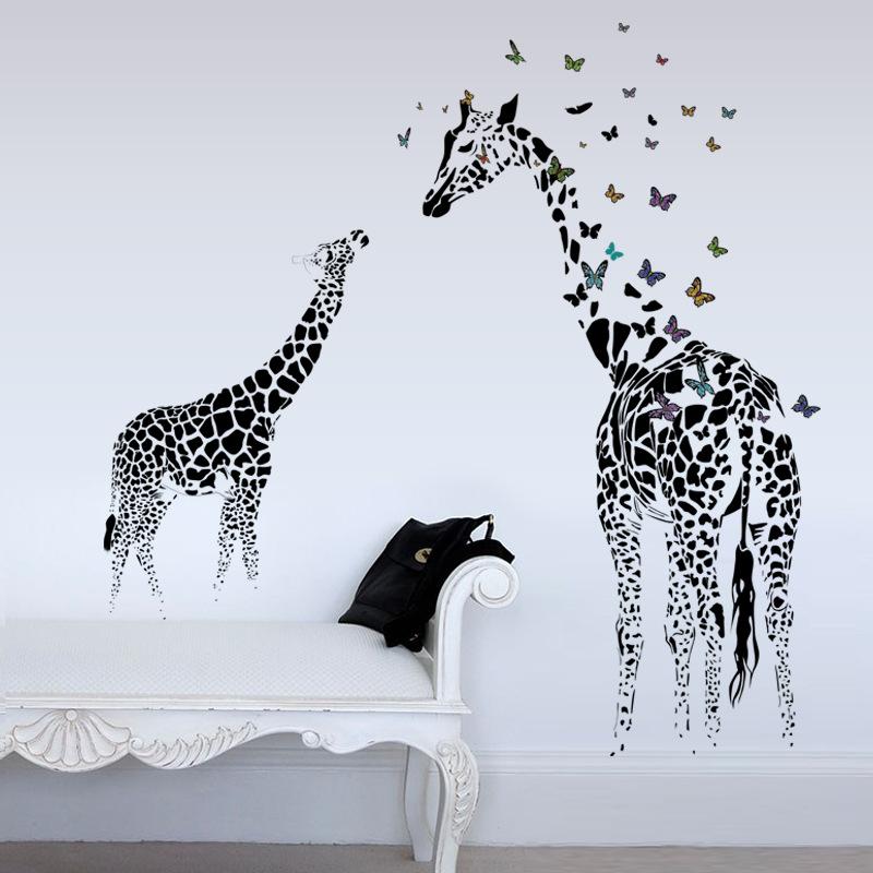 Honana DX-368 3D Жираф Красочный стикер стены бабочка Съемный домашний декор спальня искусства аппликация