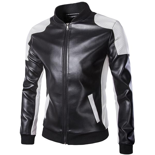 Mens PU Leather Fashion Black White Stitching Motorcycle Biker Jacket Baseball Collar Coat
