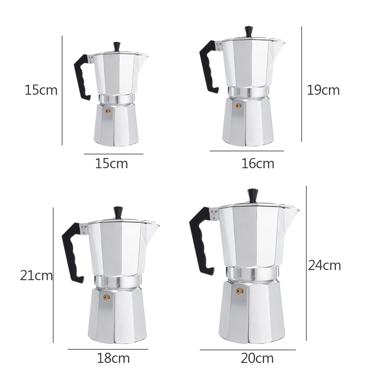 3/6/9/12 Cups Aluminum Espresso Moka Percolator Portable Coffee Maker Stovetop Home DIY 14