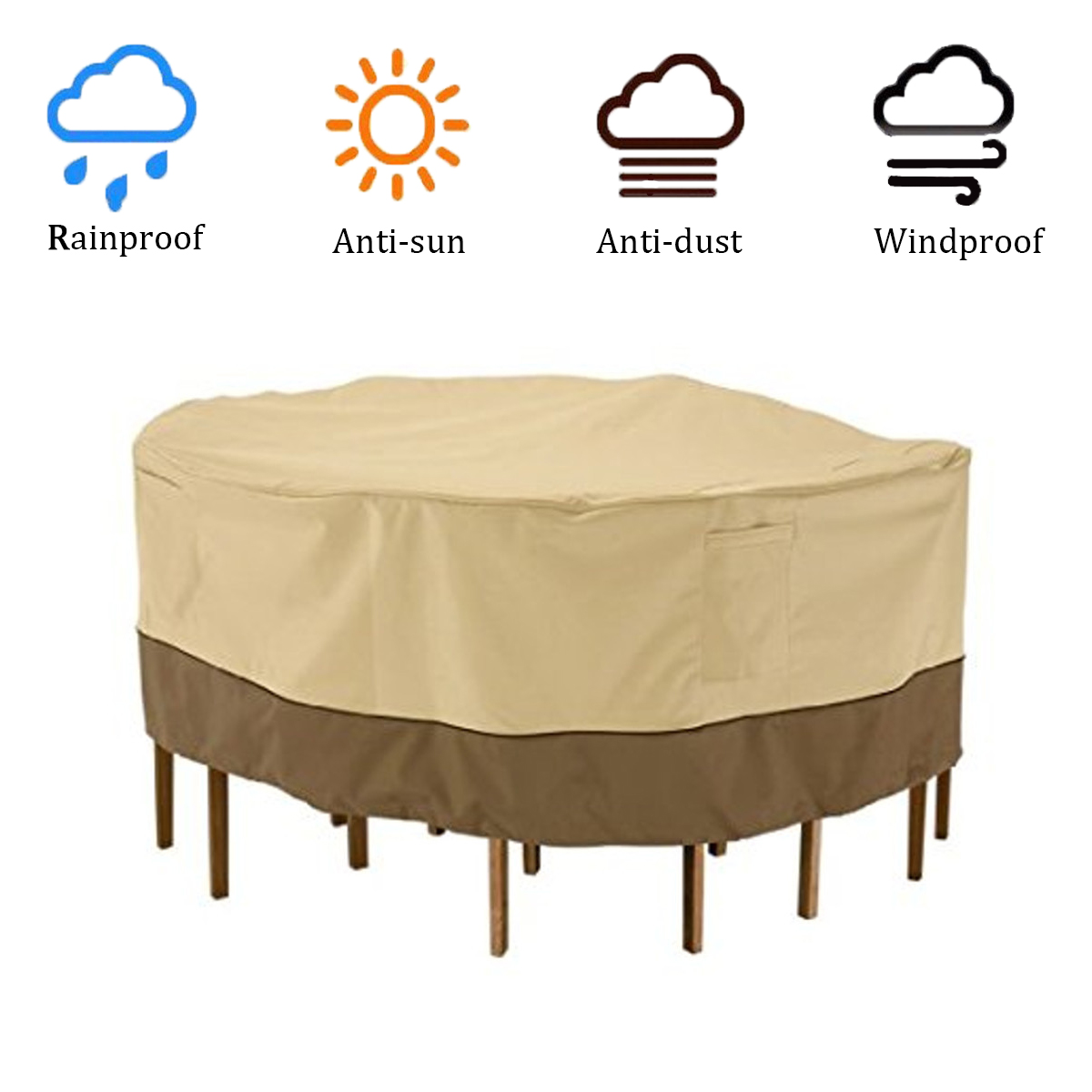 Garden Round Waterproof Table Cover Patio Outdoor Furniture Set Shelter Protection 3