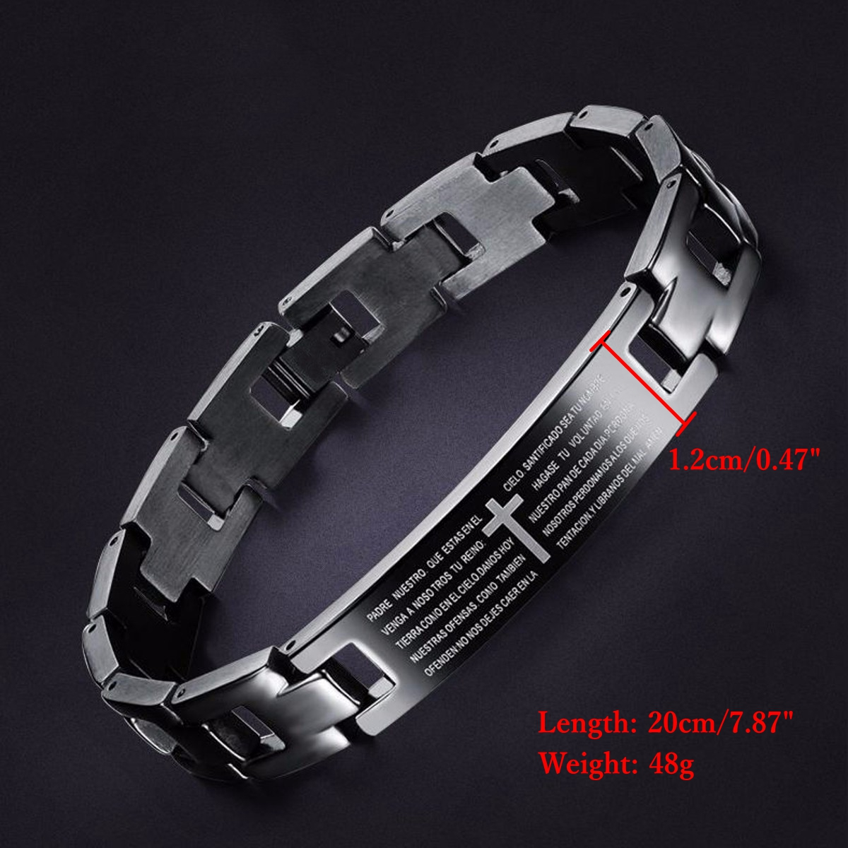 Cross Bilble Black Titanium Men Magnet Bracelet Healing Jewelry Bangle Chain