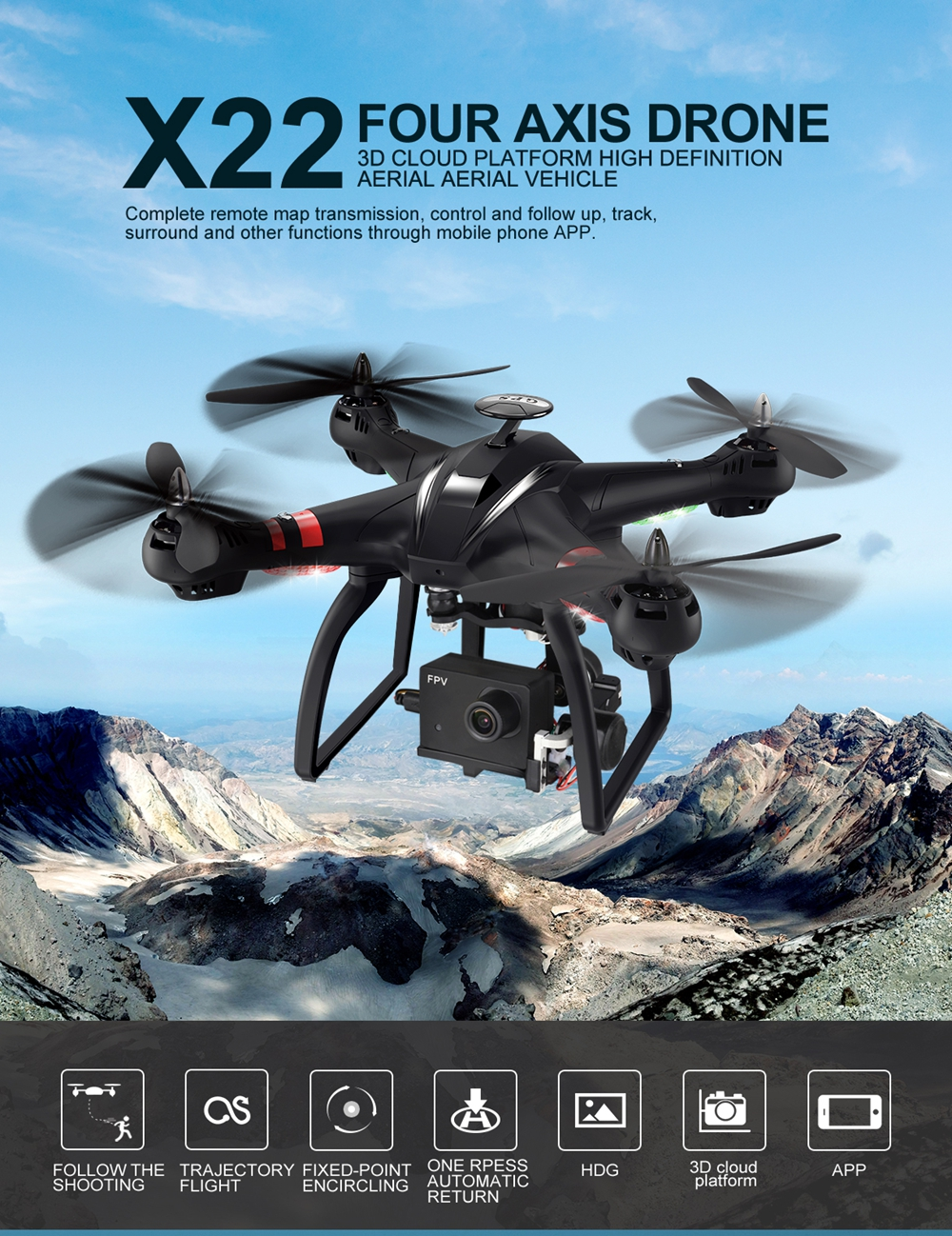 BAYANGTOYS X22 Brushless Dual GPS WIFI FPV with 3-Axis Gimbal 1080P Camera  RC Drone Quadcopter RTF