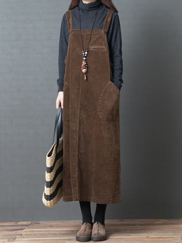 Women Casual Solid Color Corduroy Strap Dress with Pock