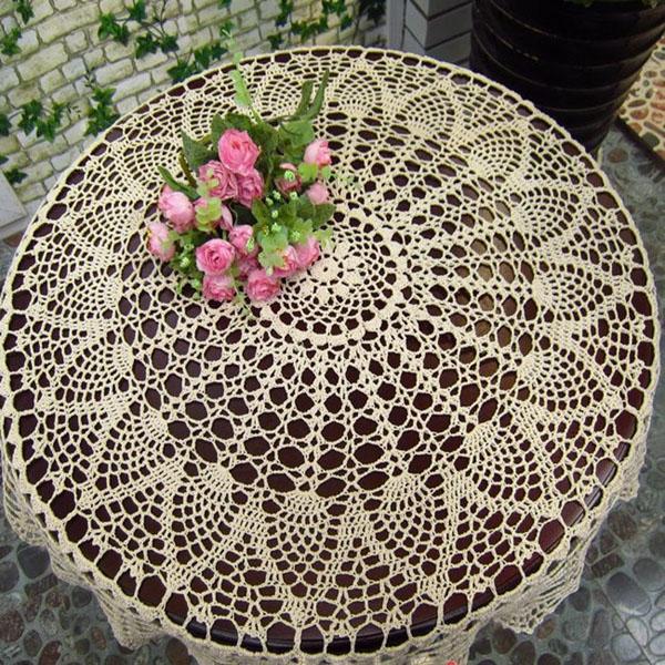 80см белая рука вязание крючком скатерти бегун стол бюро крышки ботвы ананаса цветочные свадебного декора