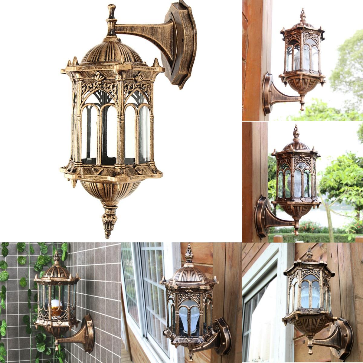 Открытый бронзовый античный внешняя стена светильника алюминиевый стеклянный фонарь светильник сада