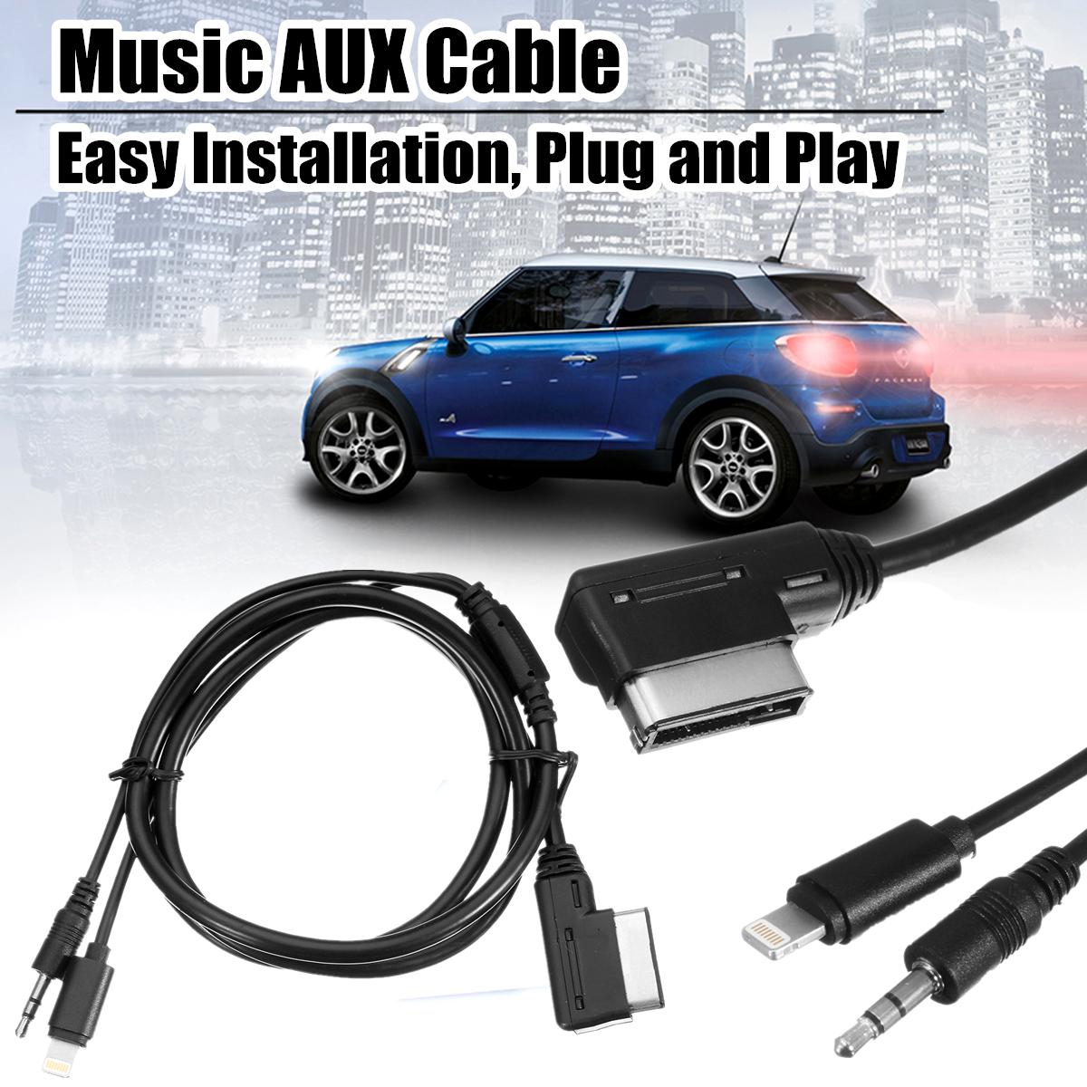 Car Media-in Audio Interface Music AUX Charging Cable Adapter 1M for Benz