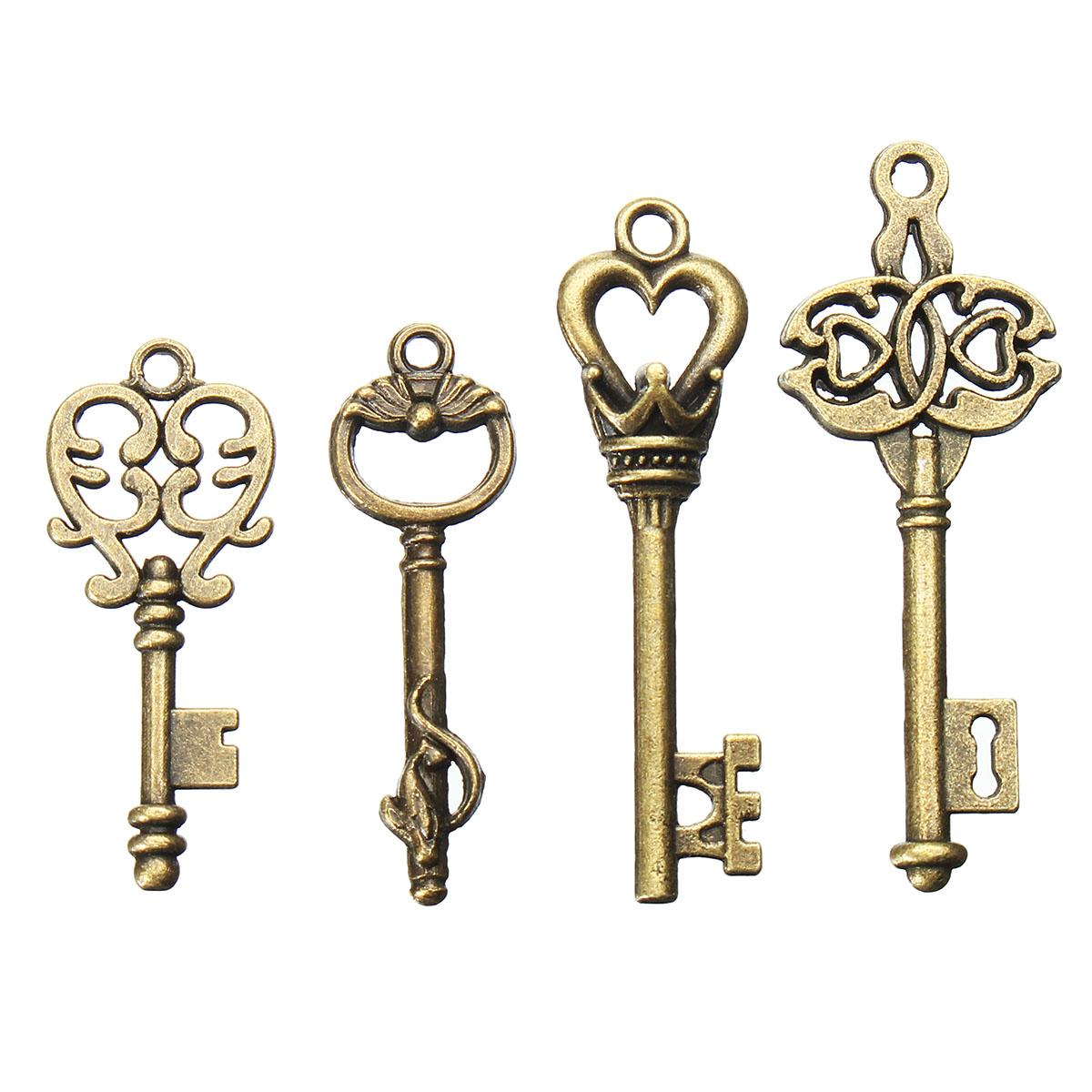 4Pcs Винтаж Бронзовый ключ для Кулон Браслет ожерелья DIY Украшение ручной работы Аксессуары