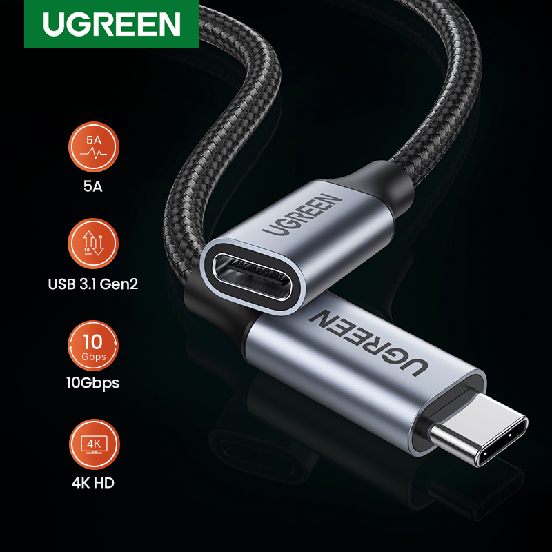 UGREEN USB C Extension Cable USB Type C 3.1 Gen 2 Male to Female Fast Charging & Audio Data Transfer Cable