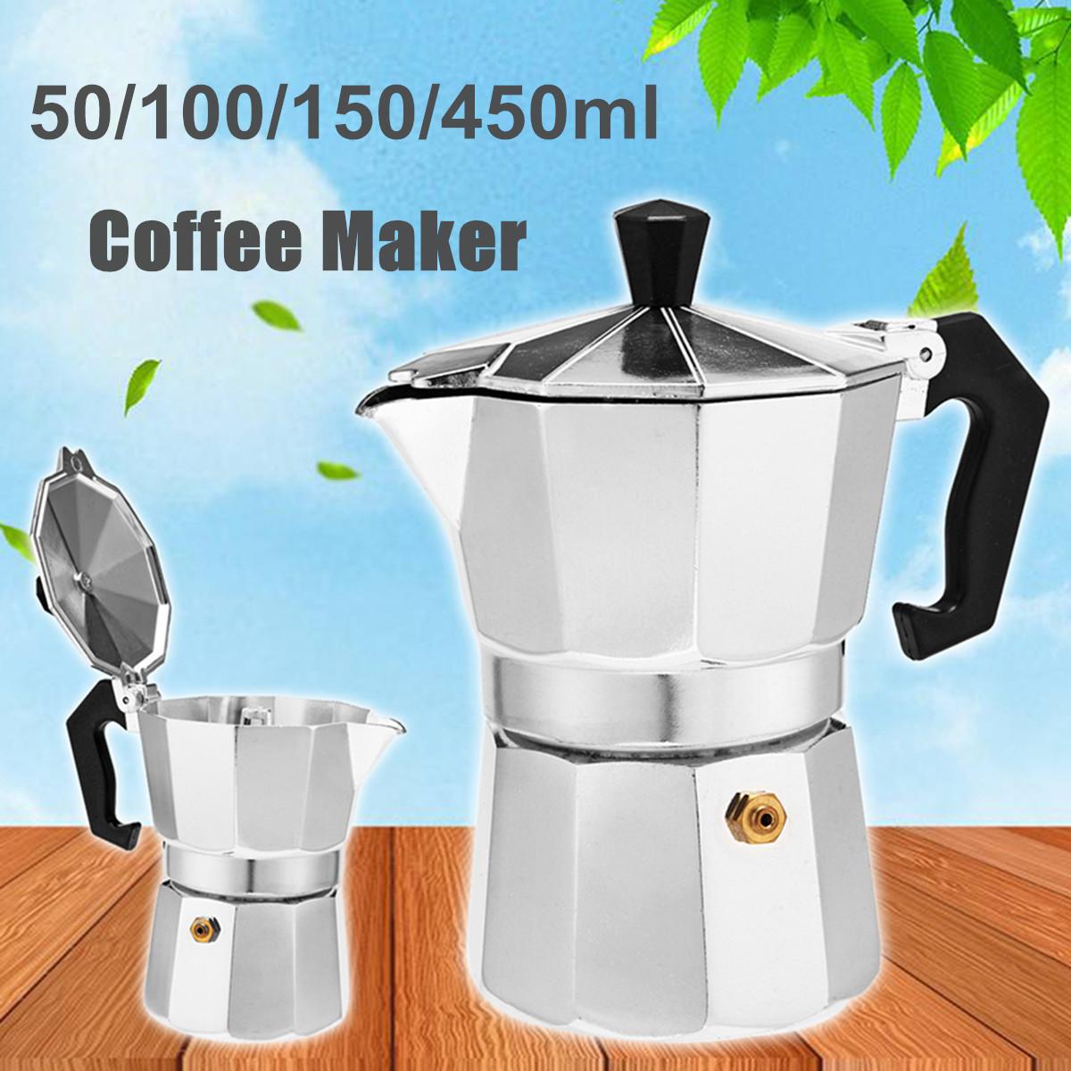 50 / 100 / 150 / 450ml Silver Aluminum Octagonal Mocha Coffee Pot Cup Percolator Maker Tea Pot 13