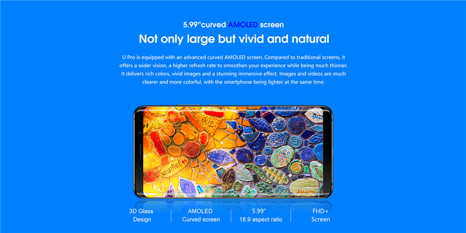 Elephone U Pro 5 99 Inch AMOLED Flexible Display 6GB RAM 128GB ROM  Snapdragon 660 2 2GHz Smartphone