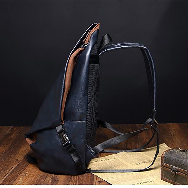 14 inches Men PU Leather Minimalist Leisure Travel Backpack Large Capacity Laptop Bag Satchel