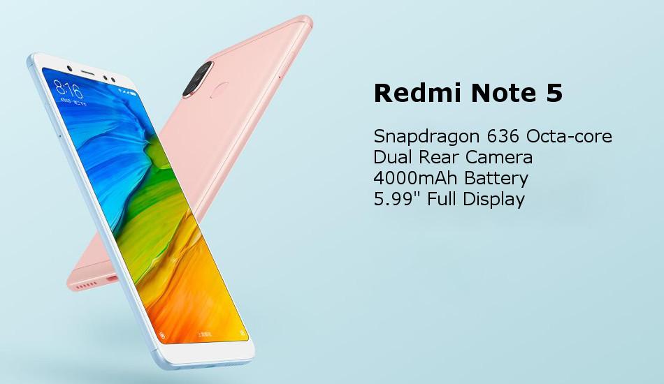 Xiaomi Redmi Note 5 Dual Rear Camera 5 99 inch 6GB 64GB Snapdragon 636 Octa  core 4G Smartphone