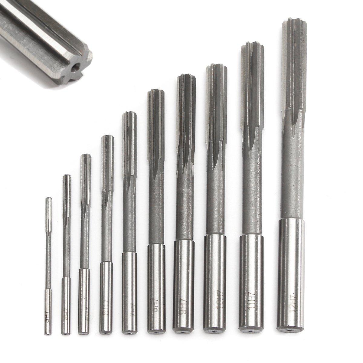 10pcs 3-12mm H7 Reamer HSS Straight Shank Chucking Sharp Machine Milling Cutter