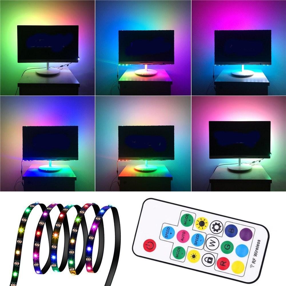 1M 2M 3M WS2812 SMD5050 Black PCB Non-водонепроницаемый USB LED Полоса Light + 17 клавиш Дистанционное Управление DC5V