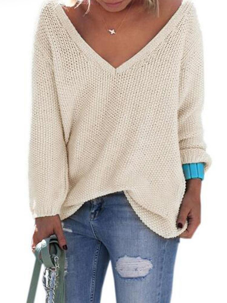 Женское Твердые цвета V-образным вырезом вязать с длинными рукавами свитера