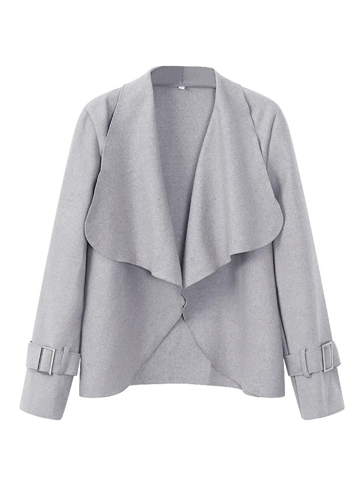 Элегантный Женское Нерегулярный Чистый Цвет Лацкан с длинным рукавом Короткая куртка