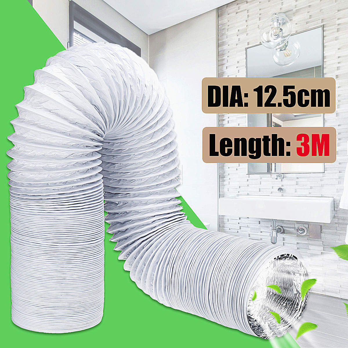3M 5Inch Exhaust Hose PVC Flexible Ducting Air Conditioner Exhaust Hose  Replacement Hose Extend Vent