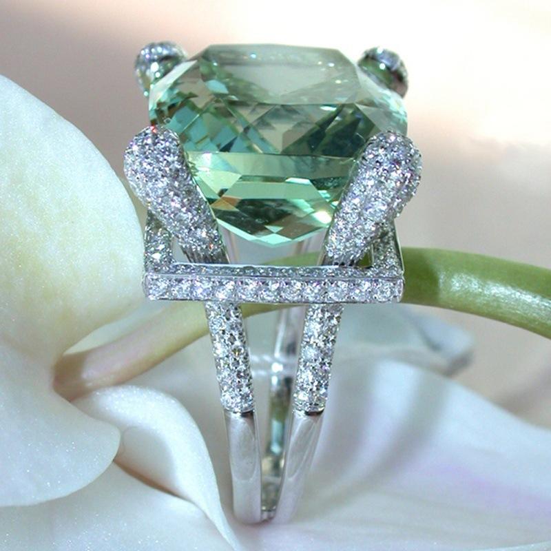 Элегантноезеленоежемчужноекольцоизциркона Свадебное Кристаллический серебристый цвет R