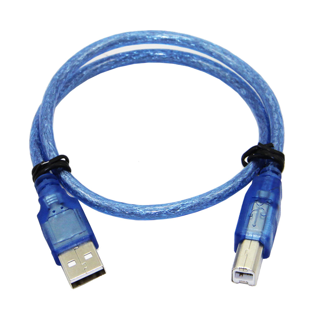 2Pcs 30CM Blue USB 2.0 Type A Male to Type B Male Power Data Transmission Cable For UNO R3 MEGA 2560 2