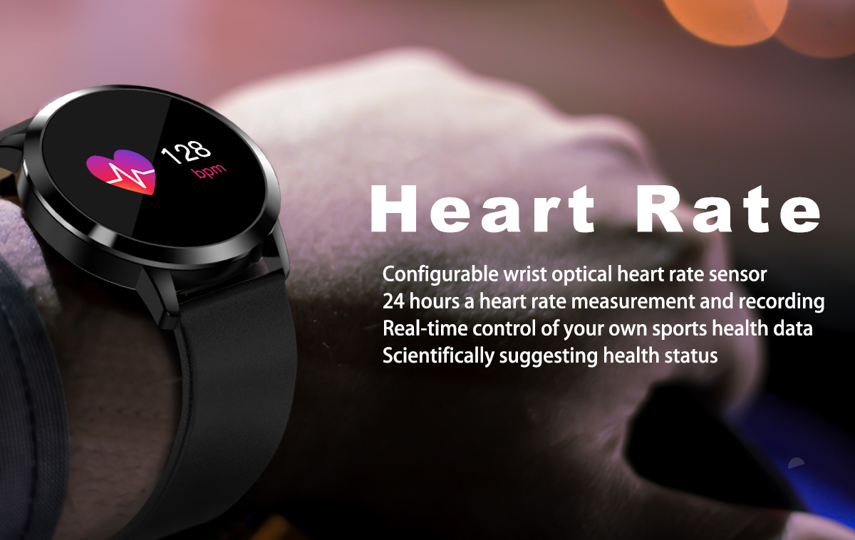 [New Color Updated] Newwear Q8 Stainless Steel 0.95 inch OLED Color Screen Blood Pressure Heart Rate Smart Watch