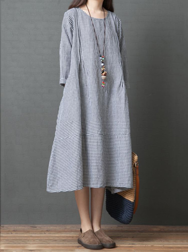 Урожай круглый Шея с длинным рукавом в клетку Платье с карманами