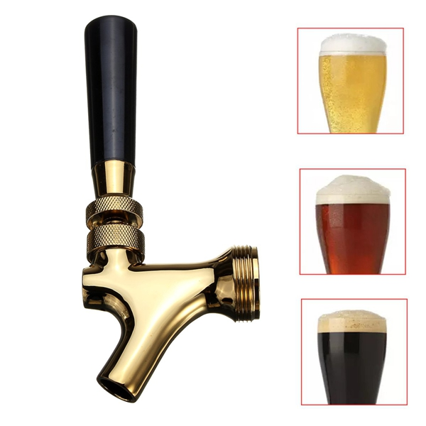 Gold Draft Beer Faucet Brass Beer Tap Faucet Draft Beer Shank 100*62mm