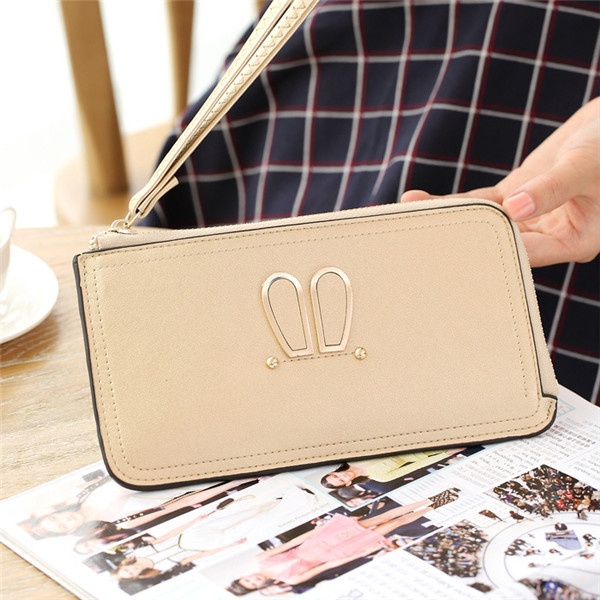 Women Rabbit Ear Clutches Bags Zipper Long Wallet Card Holder 5.5'' Phone Purse For Iphone 7Plus