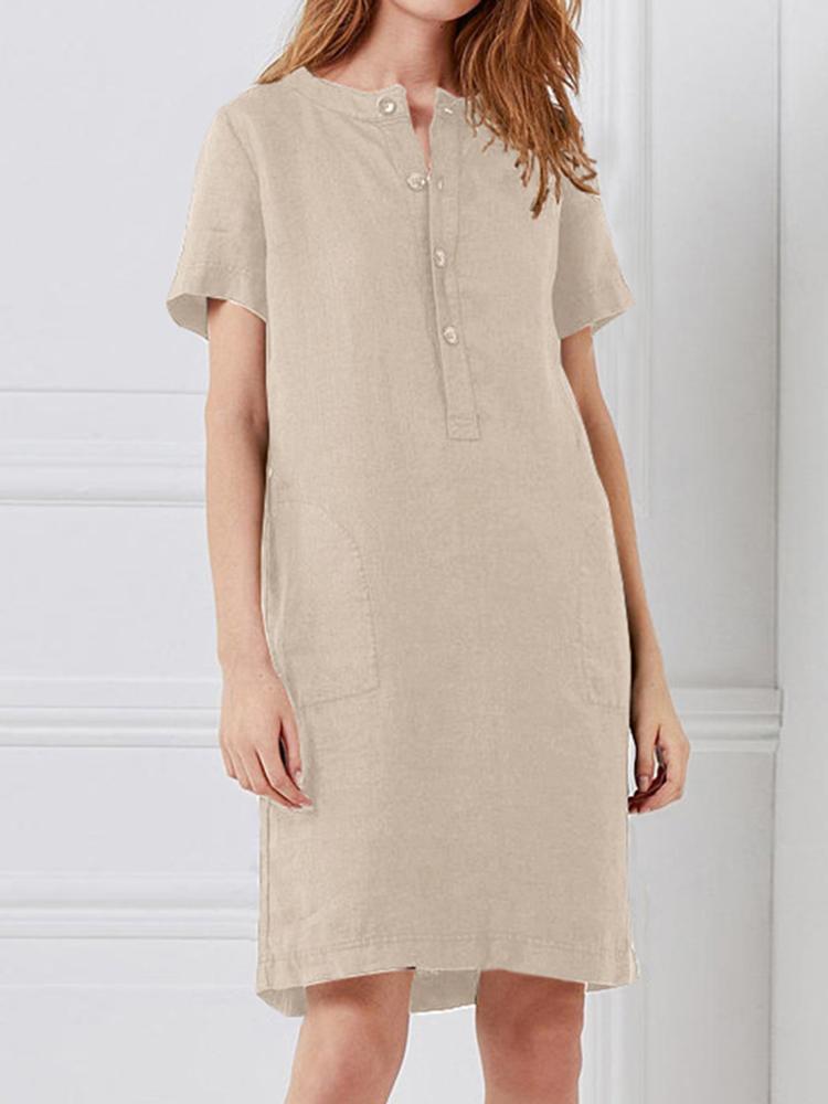 Femmes lâche coton lin à manches courtes bouton robe
