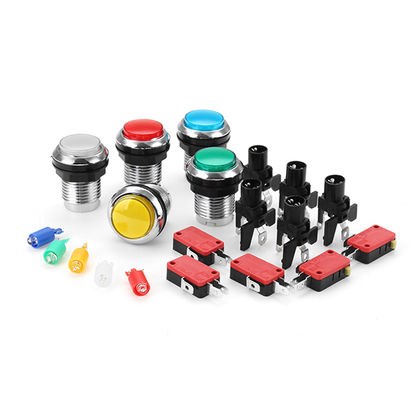 33MM Electroplated Red Blue Yellow White LED Push Button for Arcade Game Console Controller DIY