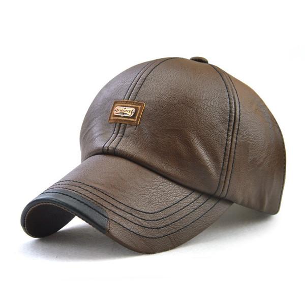 Vintage Man-made Leather Adjustable Sports Baseball Caps