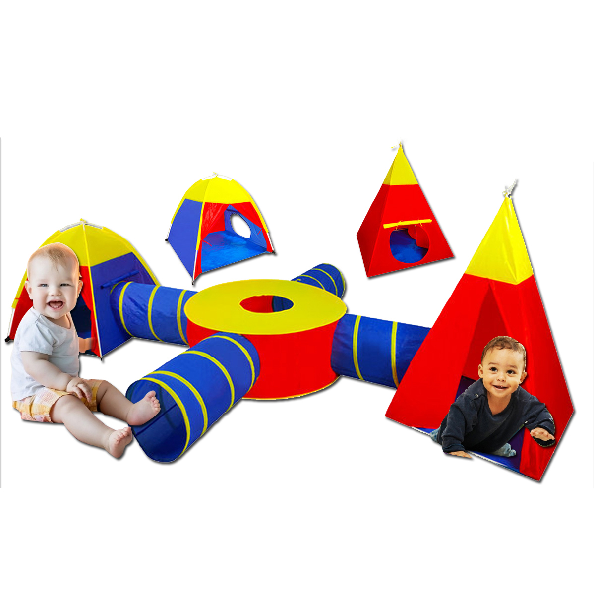 7Pcs/Set Large Play Tent Kids Toddlers Teepee Tunnel Children Baby Cubby Playhouse For Age 4-6 Years Old