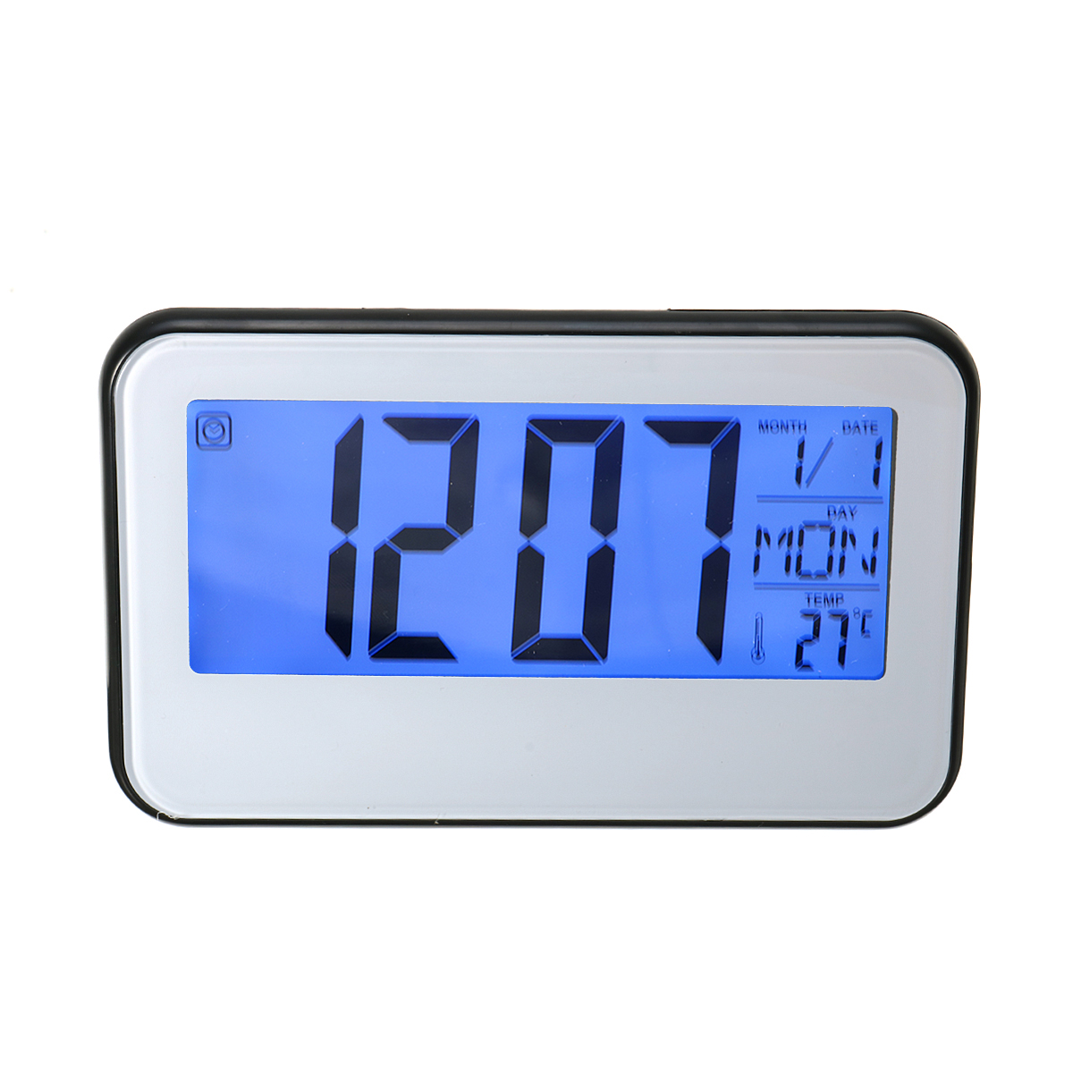 LCD Display Digital Alarm Clock Sound Controlled With Thermometer Backlight Snooze