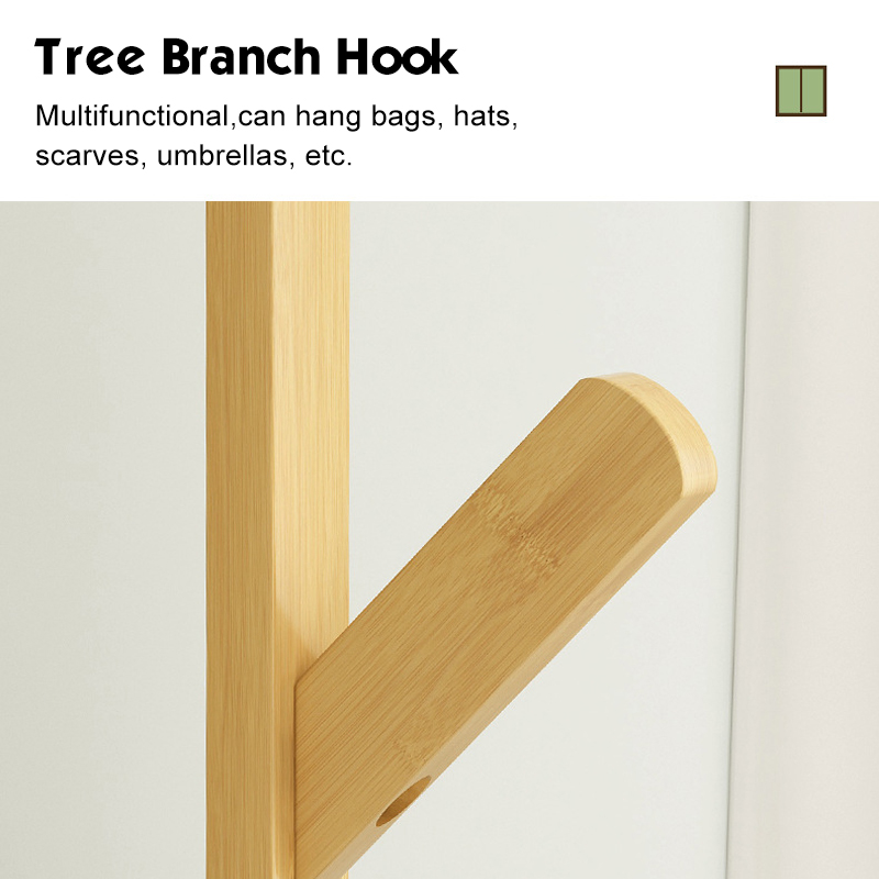 60 Inch Sturdy Natural Bamboo Tree Garment Clothes Coat Hat Hanger Stand Rack 6