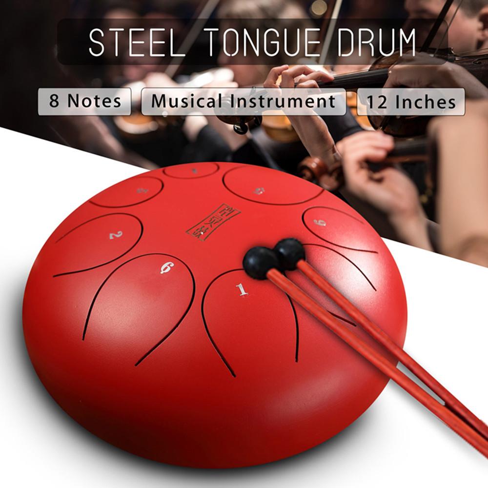 Instrument de Handpan de tambours de percussion de langue en acier de notes de 12 pouces 8 avec des maillets de tambour et des sacs