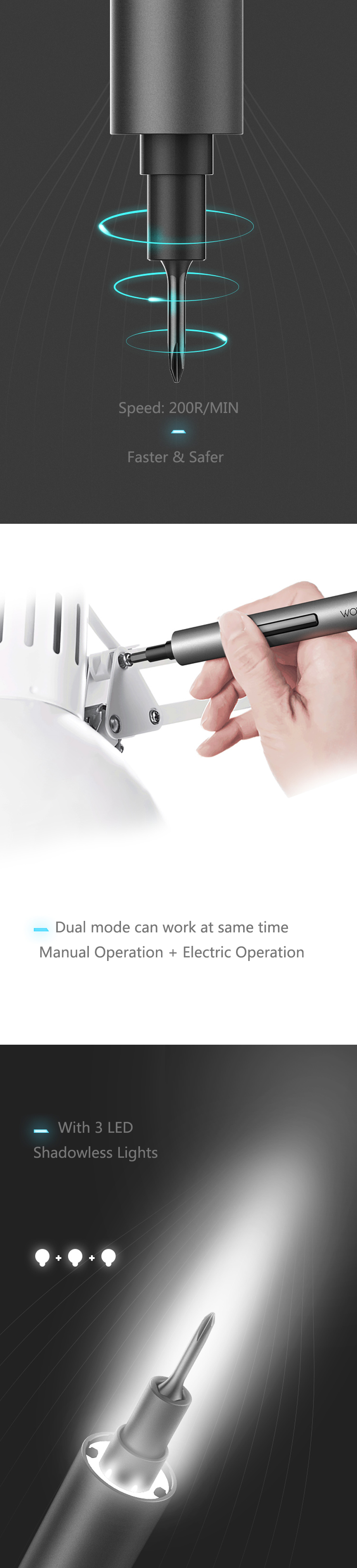 Wowstick 1F+ 64 In 1 Cordless Electric Screwdriver 3
