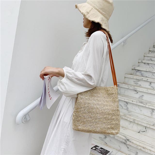 Season New Casual Woven Shoulder Straw Bag Ins Season New Wild Bucket Bag Portable Female