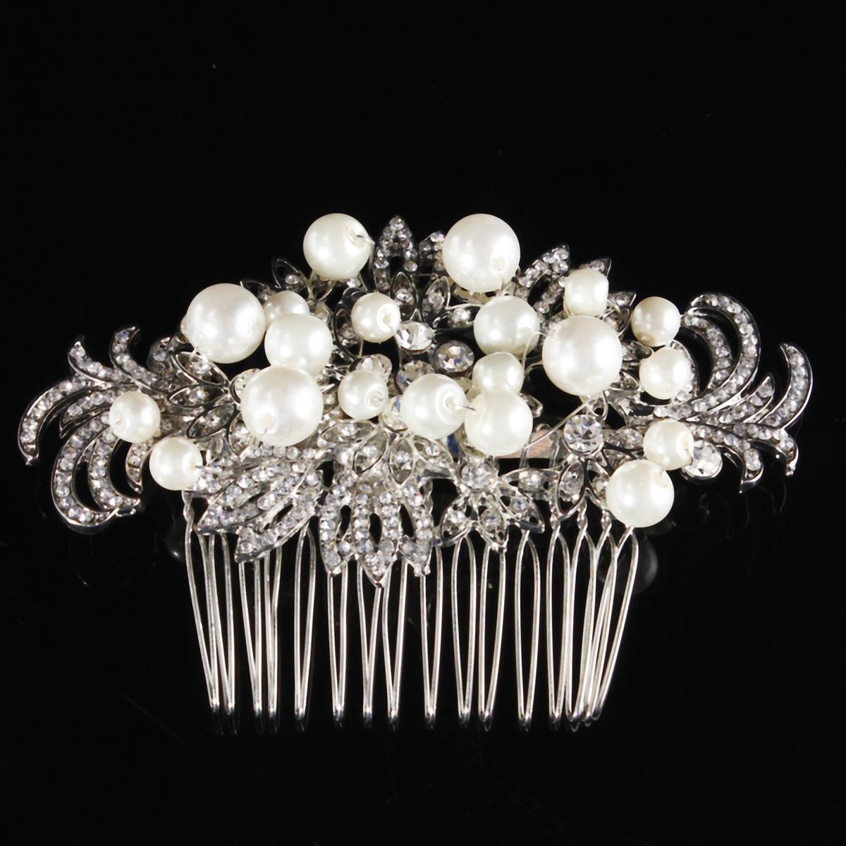Свадебный искусственные жемчуг кристалл горный хрусталь цветы Диаманте зажим для волос расческа невесты свадебный головной убор