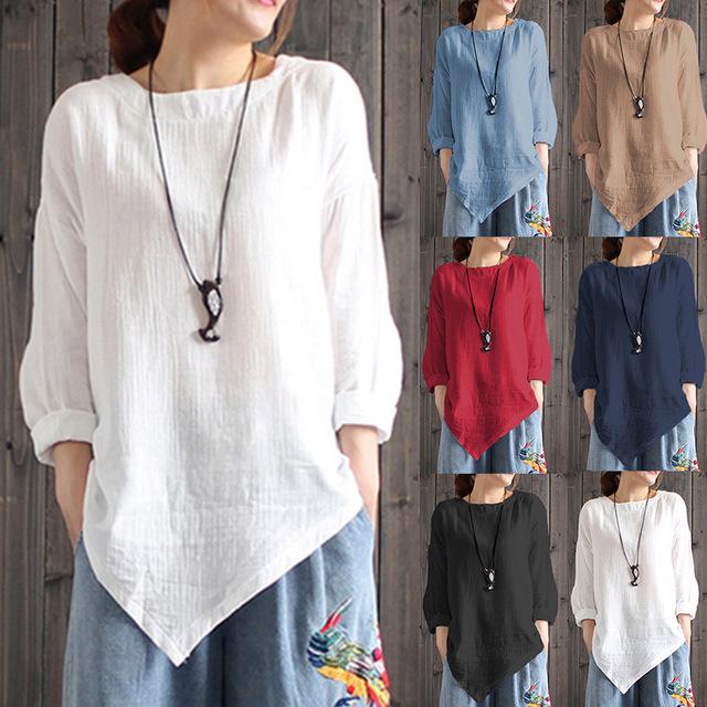 Год Большой размер женщин с длинным рукавом Рубашка Белье Ретро Топ Повседневная Свободная Асимметричная Партия Рубашка Женщины