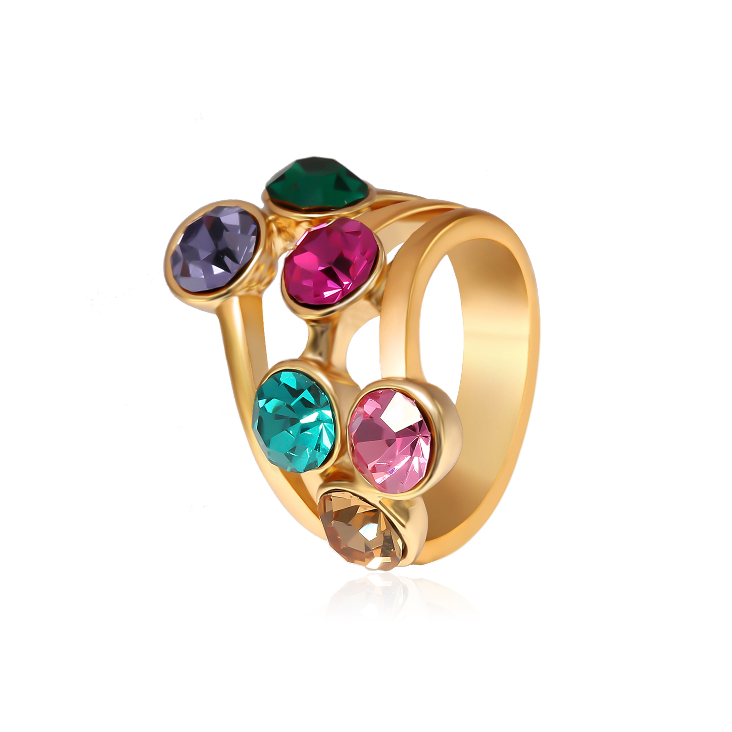Trendy Multicolor Rhinestones Gold Plated Gift Party Women Ring