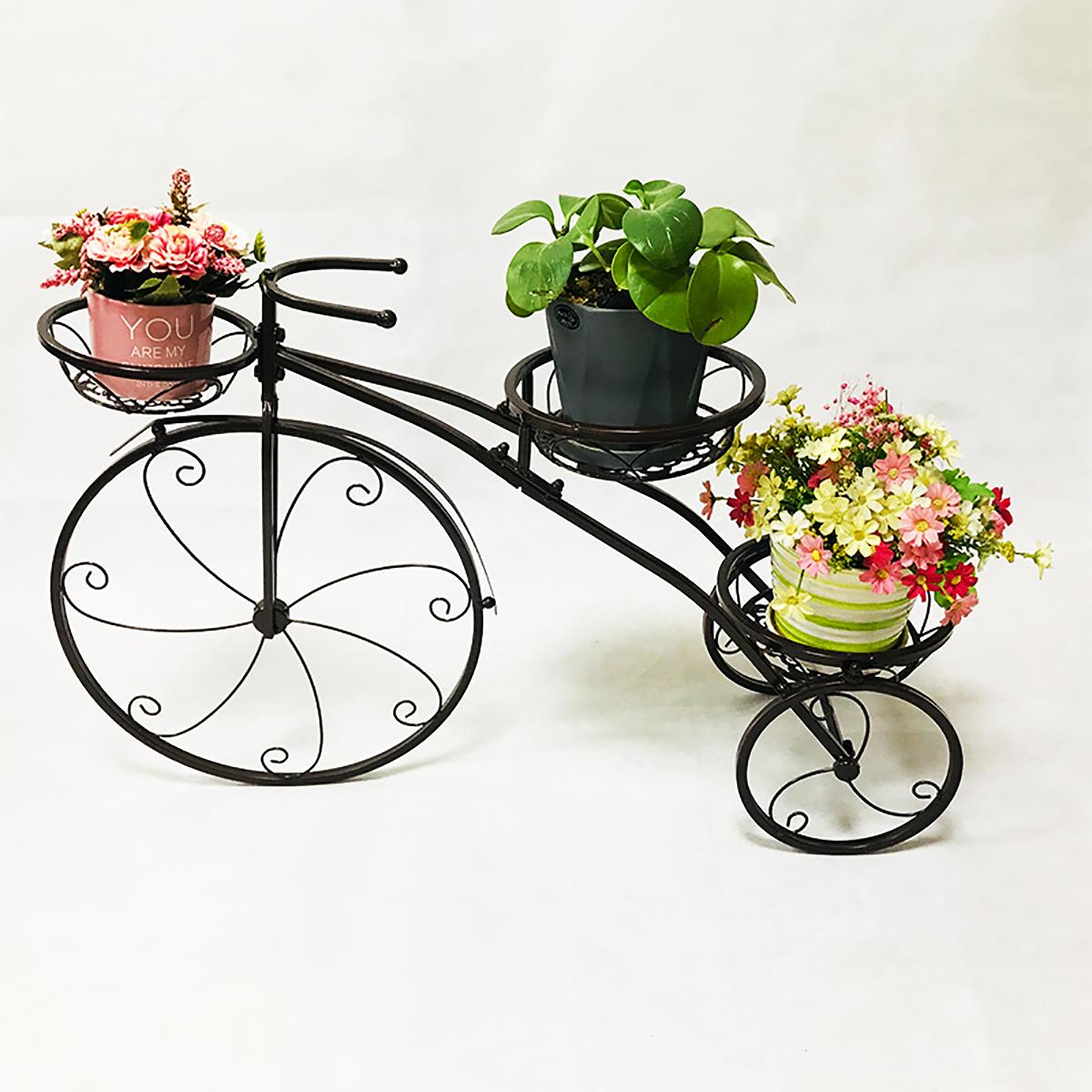 3 Tier Bicycles Plant Stand Metal Flower Pots Garden Decor Shelf Rack 5