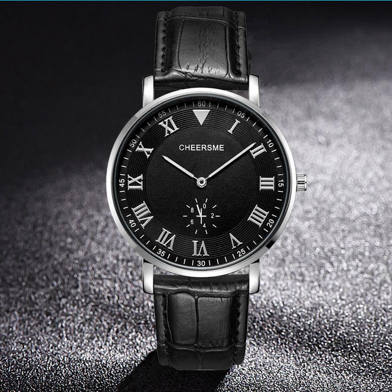 CHEERSME256UltraThinDialДизайн Кожаные мужские наручные часы