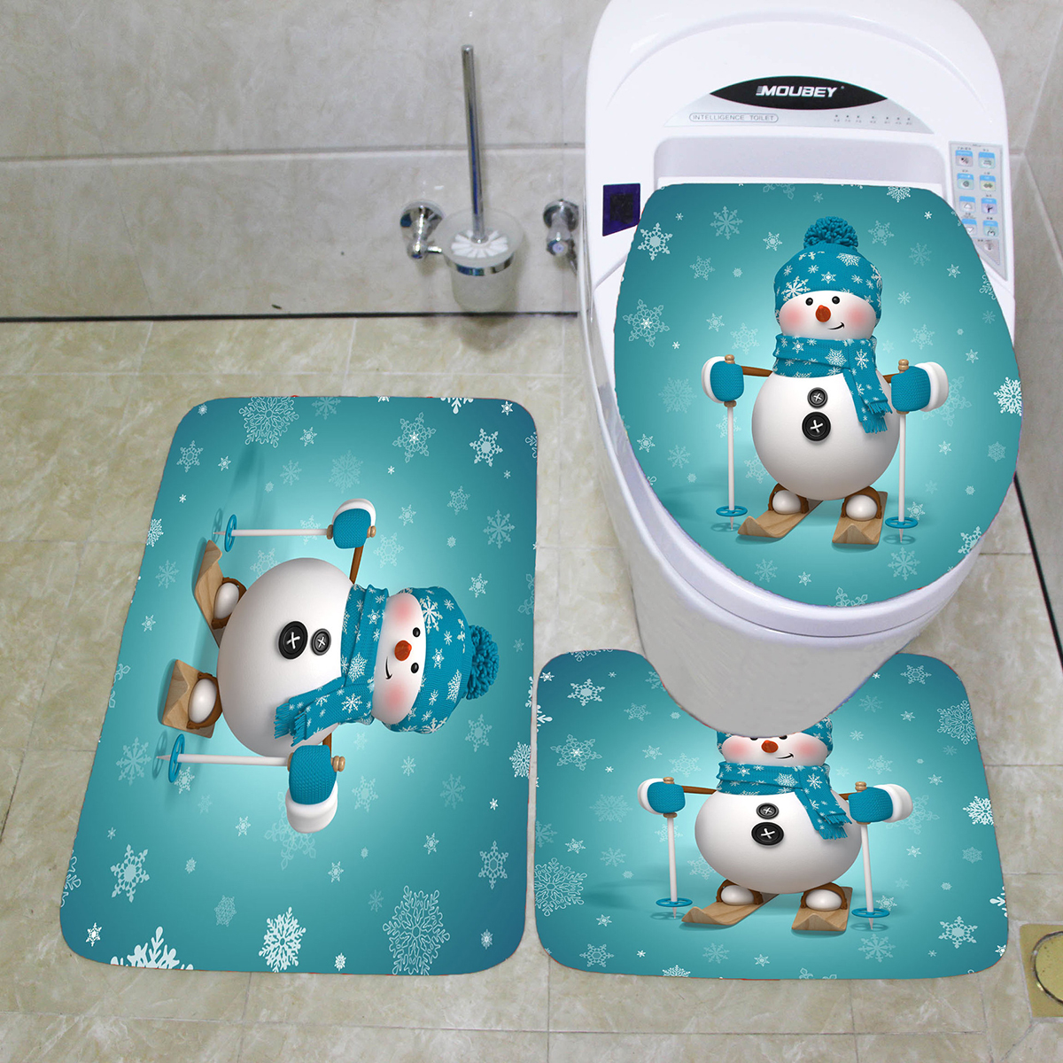 Outstanding 3Pcs Christmas Toilet Seat Covers Bathroom Mat Bathroom Carpet Set Absorbent Bath Rugs Bralicious Painted Fabric Chair Ideas Braliciousco