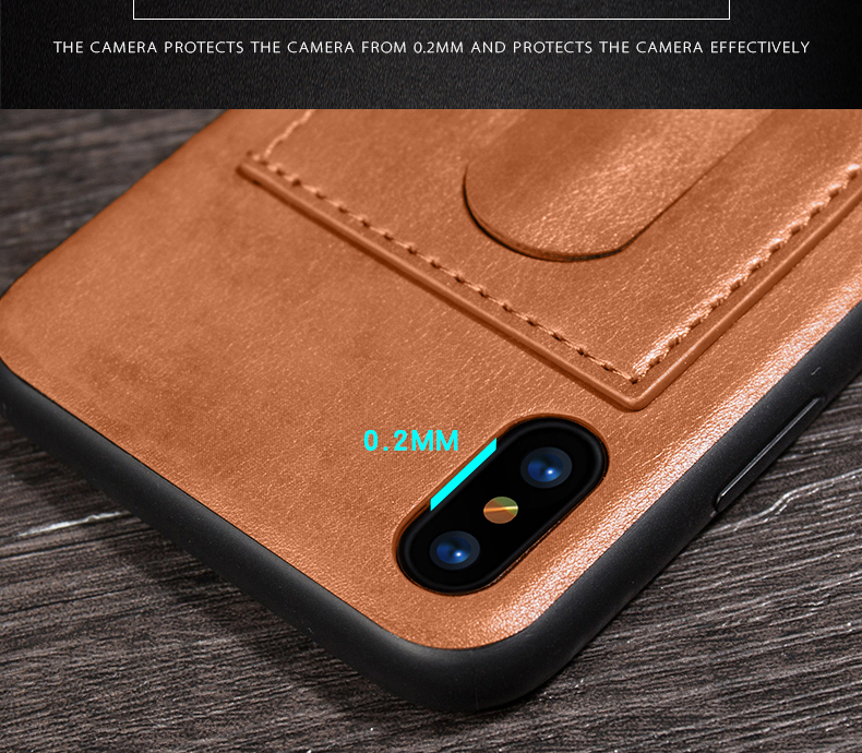 Card Slot PU Leather Kickstand Magnetic Case Cover for iPhone X