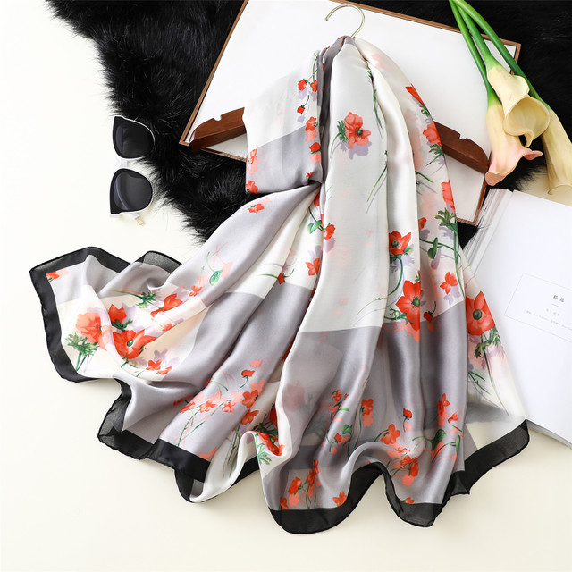 Super Silk Scarf Female New New Silk Satin Print Wild Shawl Scarf Dual-use Beach Beach Towel Simulation Silk Scarf