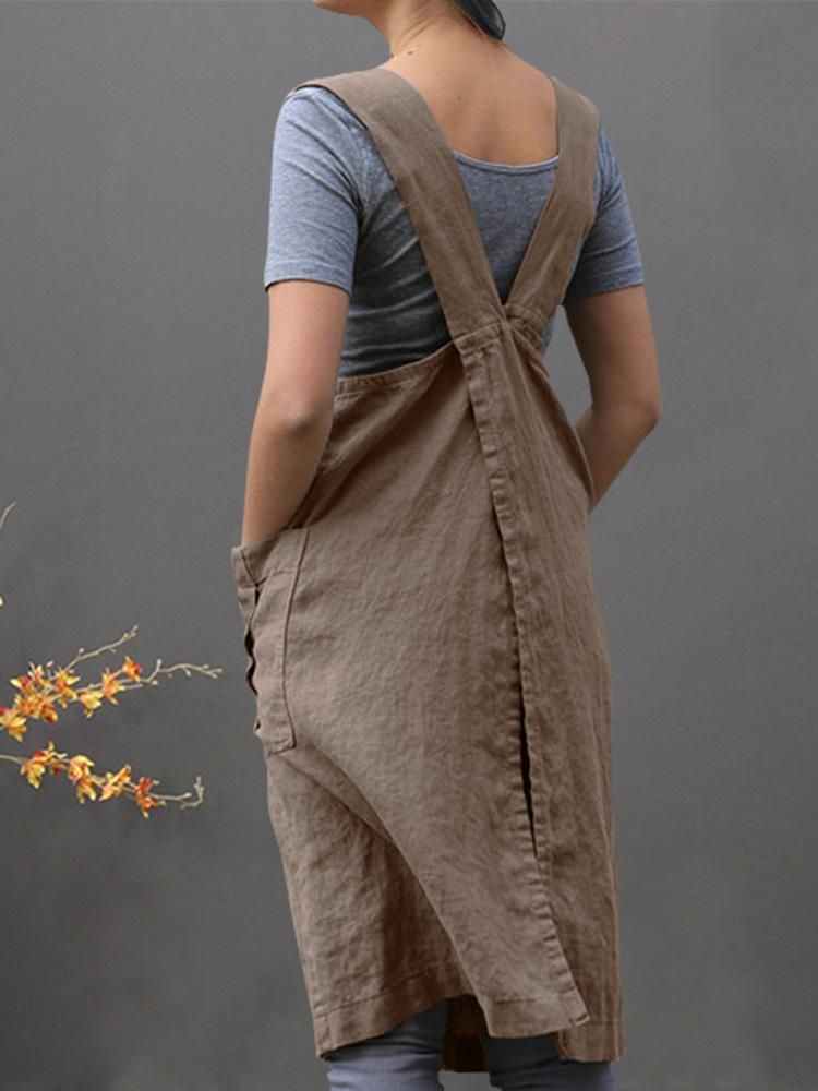 Женское Хлопковые боковые карманы без рукавов Платье
