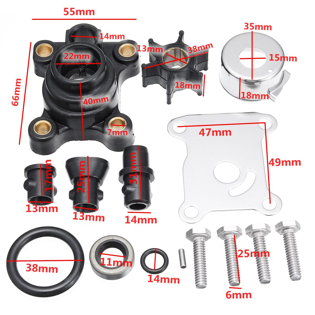 Water Pumps Impeller Kits For Johnson Evinrude 9 9hp&15hp Outboard 394711  391698