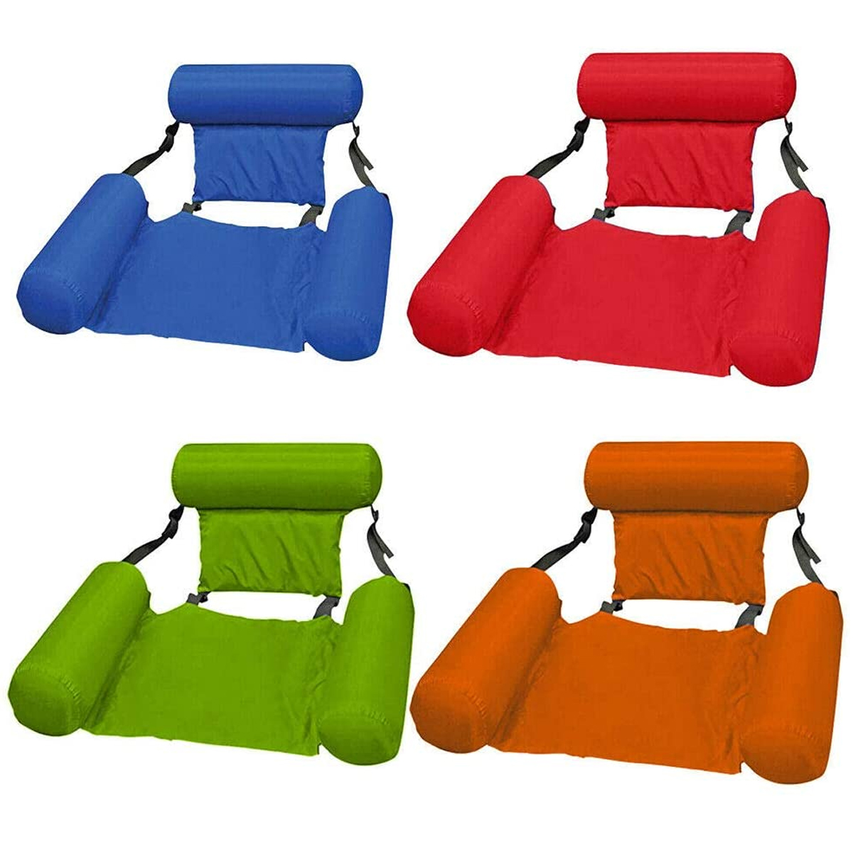 Water Lounge Chair Summer Swimming Inflatable Foldable Floating Row Backrest Air Mat Party Pool Toy 7